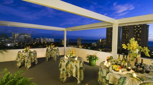 Night view of Waikiki Beach and Honolulu at small wedding reception