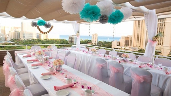 Doubletree Honolulu small wedding reception with view