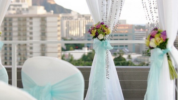 Small Wedding Ceremony decorations with view of Honolulu and Waikiki Beach
