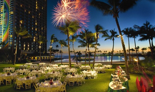 Fireworks and wedding celebration - Outdoor Wedding Reception