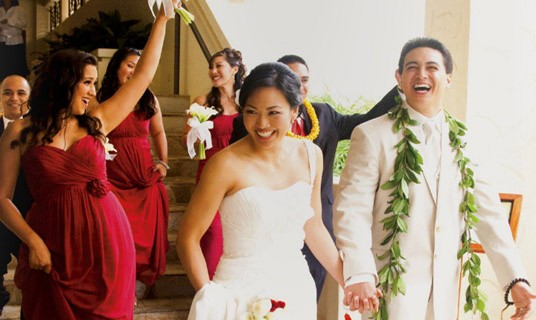 Small wedding couple just got married at Hilton Hawaiian Village Resort!