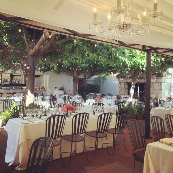 Beautiful wedding reception in Napa Valley courtyard