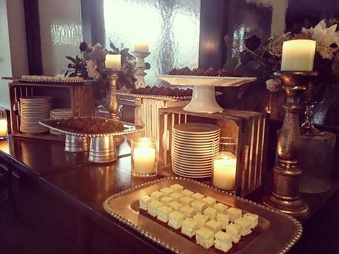 Fine foods and desserts at wedding reception
