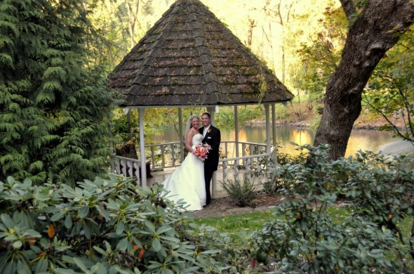Romantic gazebo picture with bride and groom in Portland