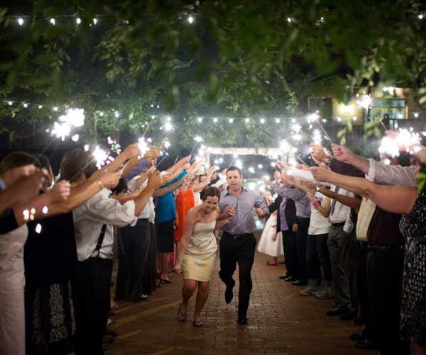 Wedding sendoff with sparklers in Sacramento