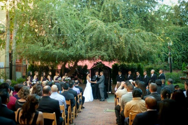 Intimate wedding ceremony and venue at Courtyard D Oro in Sacramento