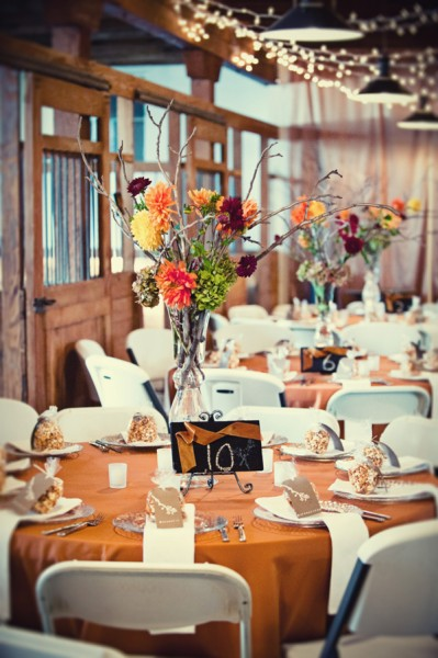 Wedding reception centerpieces at Crawfords Barn