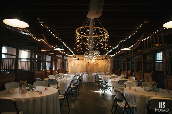 Inside Crawfords Barn in Sacramento for the intimate wedding reception