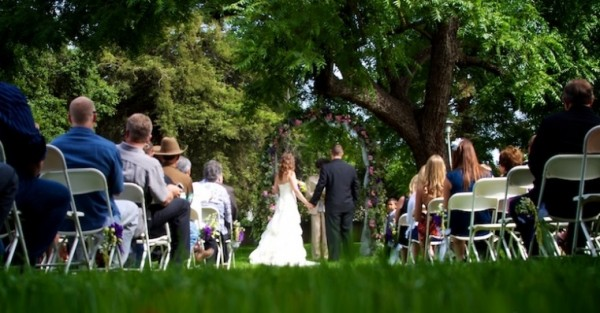 Intimate outdoor wedding ceremony at Crawfords Barn and Park in Sacramento