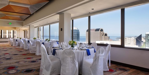 Wedding reception with a view of the Puget Sound and Seattle