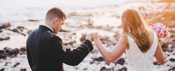 Military groom and his bride - Oceanfront Wedding