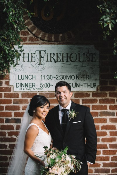 Newly weds at The Famous Firehouse Restaurant in Old Sacramento