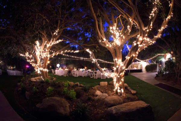 String Lights at Outdoor wedding reception Paradise Falls