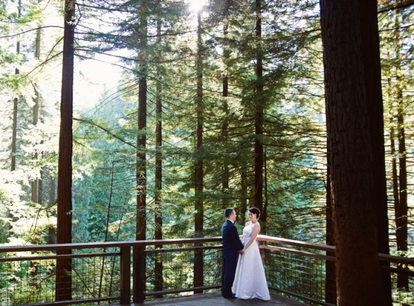 Newly weds on a the redwood deck in Hoyt Arboretum
