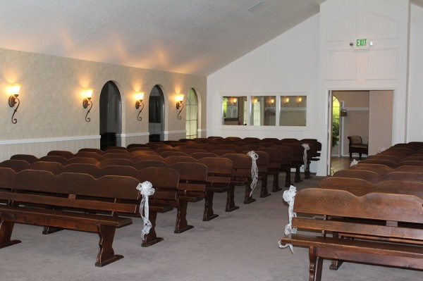 The Hostess House pews - Vancouver Wedding Venue