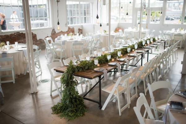 Romantic wedding reception table setup at Blanc in Denver, CO