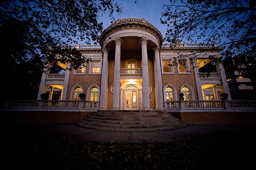The beautiful Grant-Humphreys Mansion outside at night