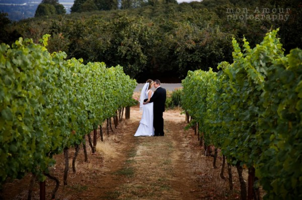 Newly Weds in the vineyard at Wine Country Farm in Willamette Valley