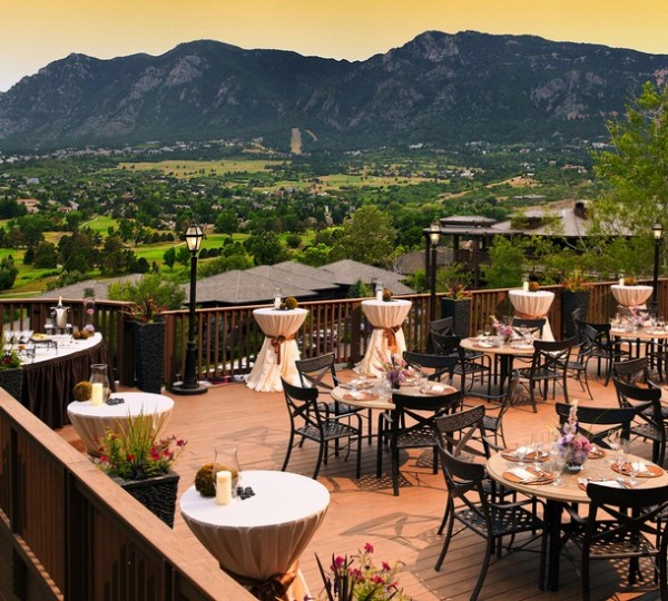 Terrace overlooking the golf course at Cheyenne Mountain Resort in Colorado Springs