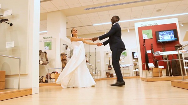Newly weds dance in the Musical Instrument Museum