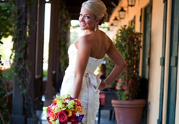 Happy bride after getting married in Sonoma Valley