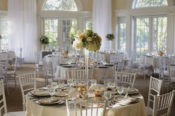 Elegant wedding reception area in the Vizcaya Pavilion of Sacramento